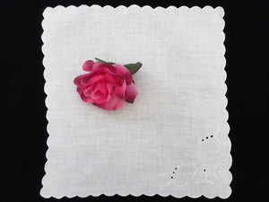 Antique Irish Linen Napkin with Madeira Broderie Anglaise Embroidery and Scalloped Edging