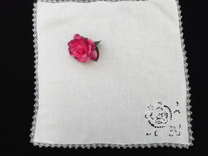 Antique Irish Linen Napkin or Handkerchief with Point de Venise, Madeira Broderie Anglaise Embroidery and Delicate Filet Lace Edging