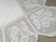 "Load image into Gallery viewer, Vintage Irish Lace and Linen Tablecloth with Filet Crochet Edging ""Convolvulus Trumpet Flower Design"""