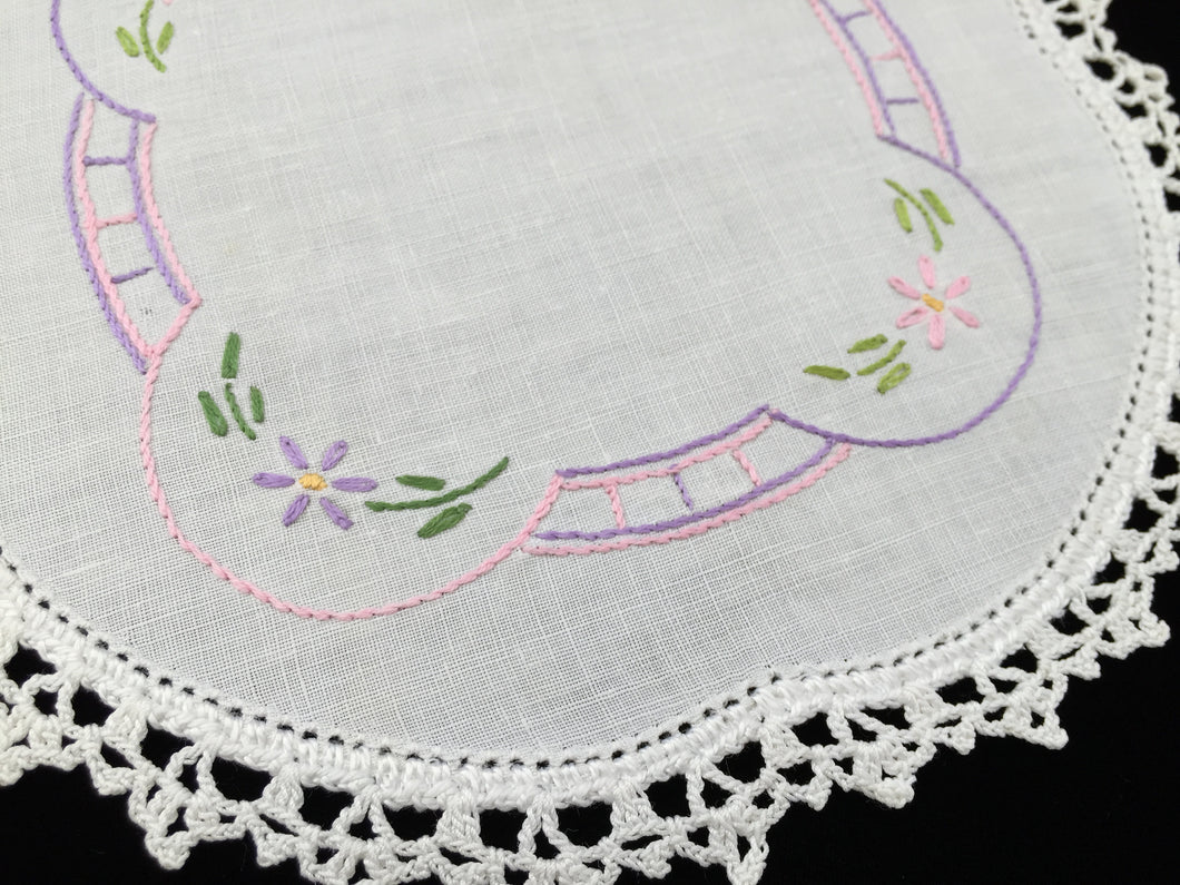 Vintage Hand Embroidered White Linen Doily with Pink  and Mauve Flowers and a White Crocheted Lace Edge