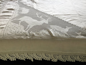 "Stag Lace Antique Linen Bed Cover with Filet Crochet Corners and Edging, a Design from ""Lady's World Fancy Work"" 1911 Issue"