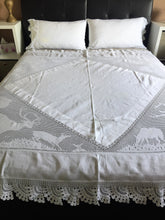 "Load image into Gallery viewer, Stag Lace Antique Linen Bed Cover with Filet Crochet Corners and Edging, a Design from ""Lady's World Fancy Work"" 1911 Issue"