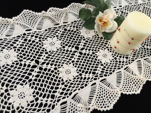 1980s Vintage Crocheted Chunky Cotton Lace Table Runner with Ruffled Edges