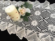 Load image into Gallery viewer, 1980s Vintage Crocheted Chunky Cotton Lace Table Runner with Ruffled Edges
