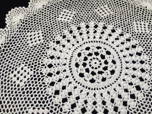 Round Vintage Crocheted Fine Cotton Lace Doily