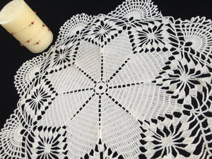 Large Vintage Crocheted Cotton Lace Doily or Table Topper in Antique Linen White Colour