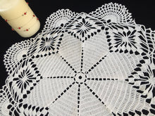 Load image into Gallery viewer, Large Vintage Crocheted Cotton Lace Doily or Table Topper in Antique Linen White Colour