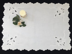 Antique Victorian/Edwardian Irish Linen Table Runner. Madeira Cutwork Hand Embroidered Linen Butler's Cloth with Scalloped Edging