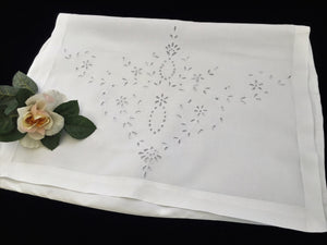 Antique Irish Linen Madeira Broderie Anglaise Embroidered Nightgown Bag