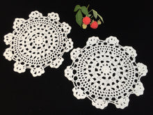 Load image into Gallery viewer, Crocheted Doilies. A Pair of Vintage Round Chunky Cotton Lace Doilies