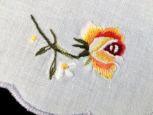 Load image into Gallery viewer, Vintage Machine Embroidered Off White Cotton Linen Doily with Roses and a Grey Scalloped Edging