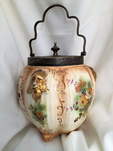 Art Deco Vintage Crown Devon S. Fielding Hand Painted Gold Lustre Floral Cookie Biscuit Jar with Handle and Holly Patterned Lid