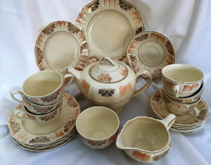 J & G Meakin Sunshine R 561073 Tea Set Complete with Teapot, Creamer, Sugar Bowl, Tea Cups, Saucers and Plate
