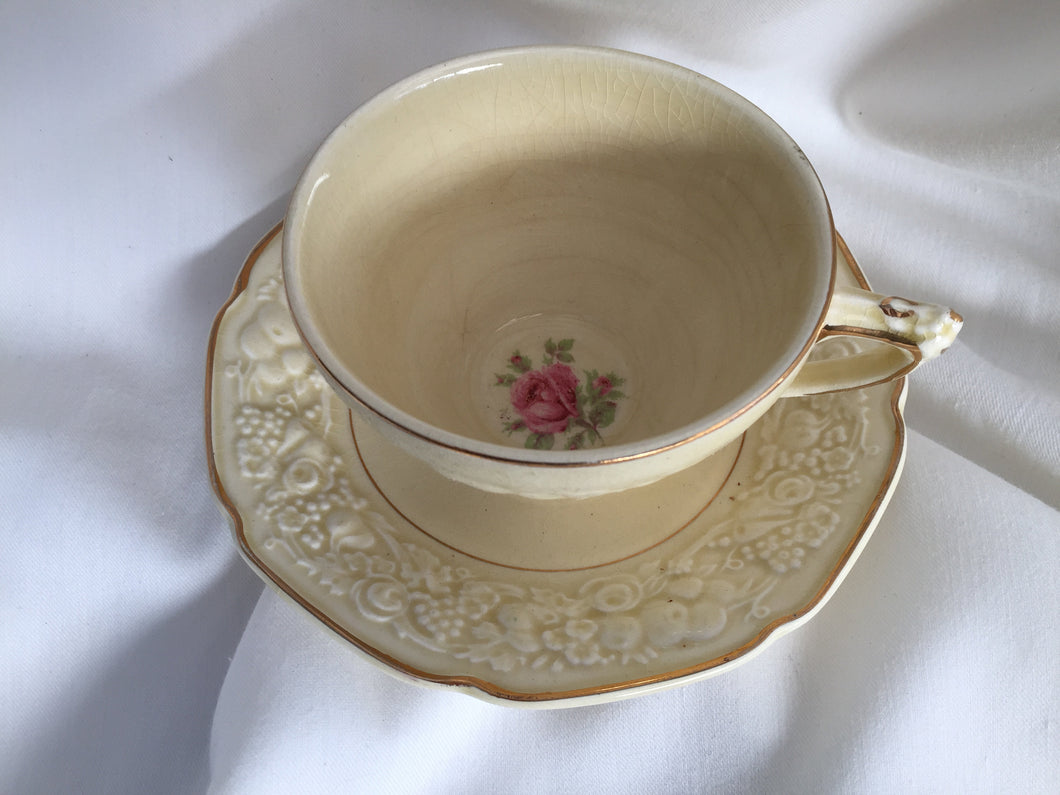Crown Ducal Florentine Rose Pattern 5379 Embossed Teacup and Saucer