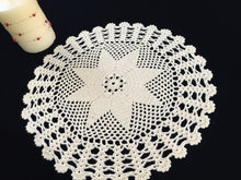 Load image into Gallery viewer, Vintage Crocheted Cotton Lace Doily or Table Topper in Cream Colour