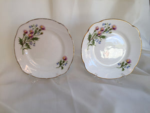 "2 Duchess (UK) Thistles and Bluebells Pattern 6.5"" Dessert/Side Plates"