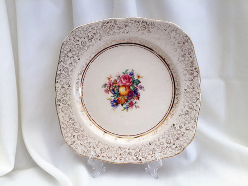"H K Tunstall HK12 Pattern Vintage English China 9.5"" Square Collectible Dessert or Dinner Plate Gold Chintz Design"