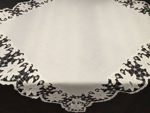 Embroidered Square Tablecloth with Madeira (Cutwork) and Needle Lace