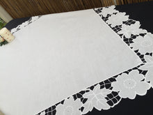 Load image into Gallery viewer, Embroidered Vintage Off-white Square Tablecloth with Madeira Cutwork and Needle Lace