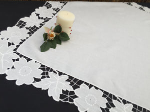 Embroidered Vintage Off-white Square Tablecloth with Madeira Cutwork and Needle Lace