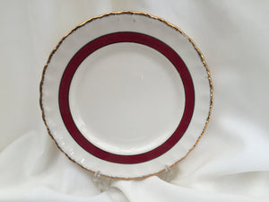 "Creampetal Grindley 7"" Bread and Butter Side Plate Ivory/Burgundy/Gold Band"