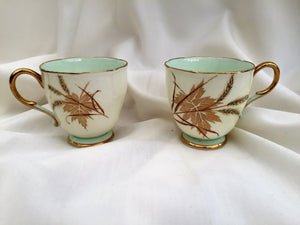 Paragon (UK) Leaf Pattern Vintage Porcelain Espresso Cup Pair (no saucers)