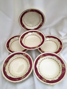 A Set of 6 Burleigh Ware Burgess & Leigh Athlone Pattern Bowls