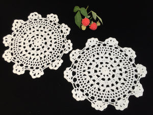 Crocheted Doilies. A Pair of Vintage Round Chunky Cotton Lace Doilies