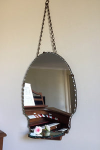 Oval Frameless Art Deco Mirror with Shelf