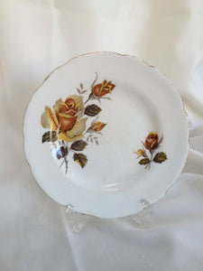 "2 Regency (England) 6.5"" Bread and Butter Plates with Yellow Roses"