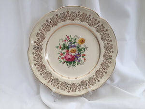 "Johnson Brothers JB1179 Pattern 10"" Vintage Dinner Plate Ivory/Gold"