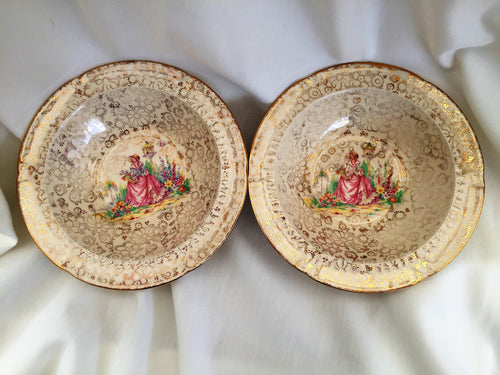 A Pair of H & K Tunstall Collectible Dessert/Compote/Cereal Bowls with Crinoline Lady and Gold Filigree Design