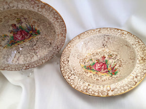 A Pair of H & K Tunstall Crinoline Lady Dessert/Compote/Cereal Bowls