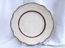"Load image into Gallery viewer, J & G Meakin MEK196 Pattern 10"" Vintage Dinner Plate Ivory, Burgundy and Gold"