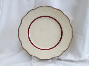 "J & G Meakin MEK196 Pattern 10"" Vintage Dinner Plate Ivory, Burgundy and Gold"