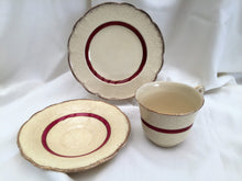 Load image into Gallery viewer, J & G Meakin Sunshine Crown MEK196 Pattern 3 Piece Demitasse Set Ivory, Burgundy and Gold