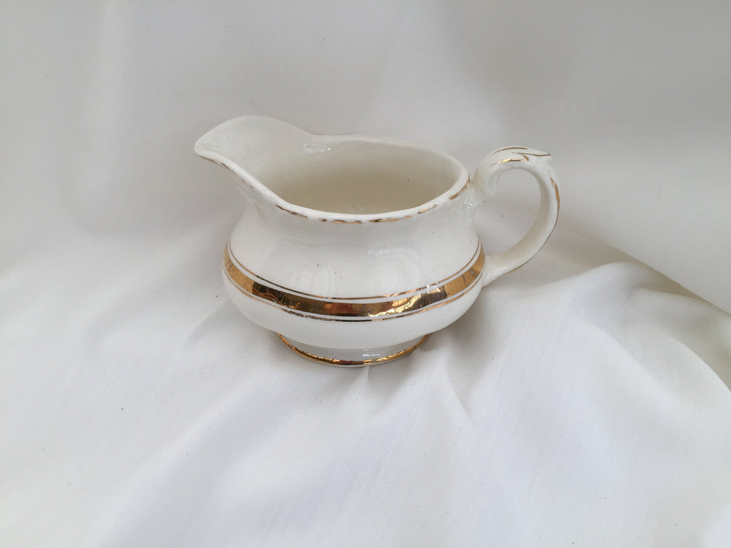 Creampetal Grindley Small Vintage Creamer Ivory and Gold Band
