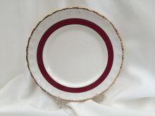 "Load image into Gallery viewer, Creampetal Grindley 7"" Bread and Butter Side Plate Ivory/Burgundy/Gold Band"