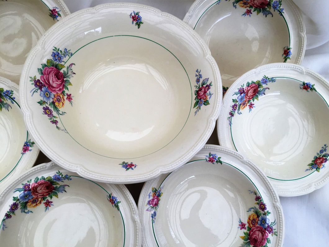 A Set of 7 Art Deco Burleigh Ware Burgess & Leigh Athlone Pattern Bowls