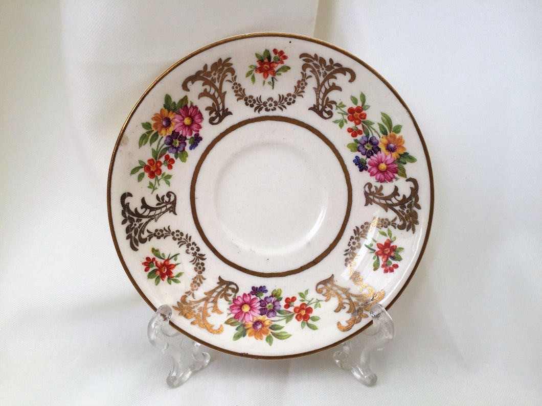Johnson Brothers Vintage Orphan Espresso Saucer with Art Deco Pattern