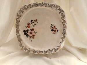 "Lord Nelson 10"" Square Flat Cake Plate Gold Filigree and Floral Design"