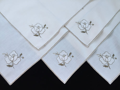 Hand Embroidered and Appliqued Vintage Ivory and Ecru Cotton Linen Napkins