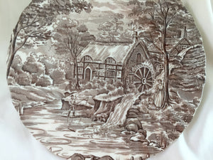 "Alfred Meakin ""The Mill"" (Brown) Pattern Pair of Decorative Plates"