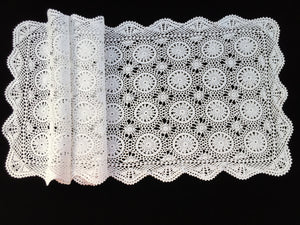 1980s Vintage Crocheted Antique Linen White Cotton Lace Table Runner