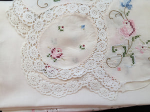 Cross Stitch Embroidered Ivory Linen Tablecloth with White Crochet Lace Detail and Corners