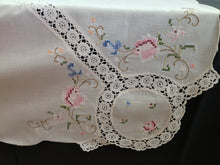 Load image into Gallery viewer, Cross Stitch Embroidered Ivory Linen Tablecloth with White Crochet Lace Detail and Corners
