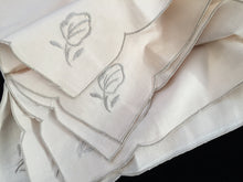 Load image into Gallery viewer, Linen Napkins. A Set of 6 Unused Vintage Ivory/Ecru Embroidered Cotton Linen Napkins