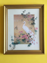 Load image into Gallery viewer, Vintage Framed Print of a Peacock in the Garden in Gilded Frame