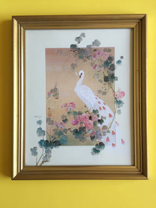 Vintage Framed Print of a Peacock in the Garden in Gilded Frame
