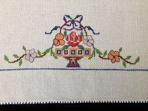 Art Deco Vintage Cross Stitch Embroidered White Linen Tea or Guest Towel with Flower Urn Pattern
